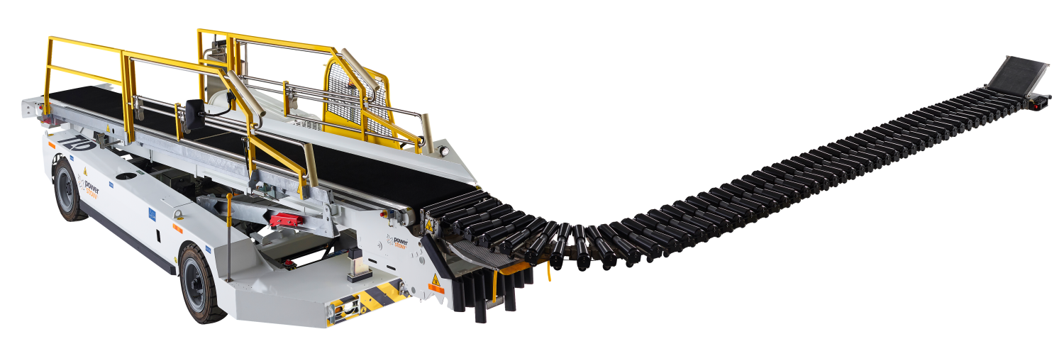 Power Stow Rollertrack Conveyor mounted on TLD belt loader
